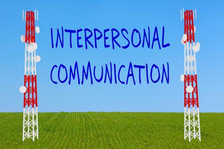 3D illustration of INTERPERSONAL COMMUNICATION script two communication poles