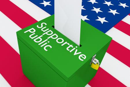 """3D illustratie van het """"ondersteunend publiek"""" script op een stembus, met de Amerikaanse vlag als achtergrond. Stockfoto"""