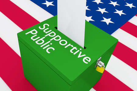 3D illustration of Supportive Public script on a ballot box, with US flag as a background.