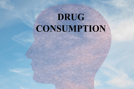 Render illustration of DRUG CONSUMPTION title on head silhouette, with cloudy sky as a background.