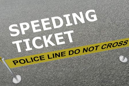 警察アリーナの地面に「スピード違反チケット」タイトルの 3 d イラストレーション