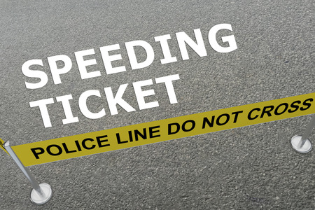 3D illustration of SPEEDING TICKET title on the ground in a police arena