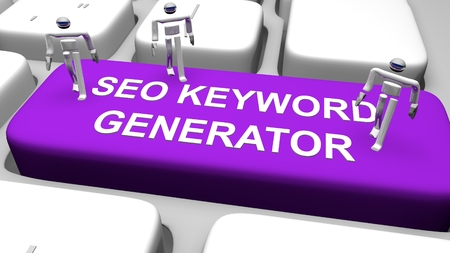 3D illustration of computer keyboard with the print SEO KEYWORD GENERATOR on purple button Stock Photo