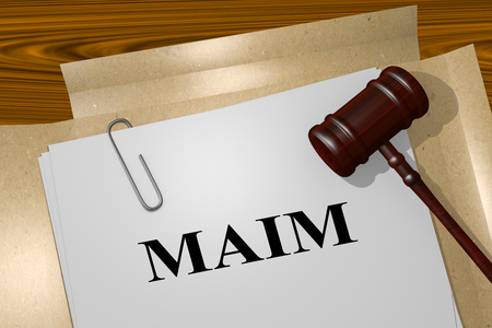 3D illustration of MAIM title on legal document