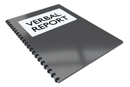 3D illustration of VERBAL REPORT script on a book, isolated on white.