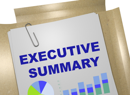"3D-Illustration des Titels ""EXECUTIVE SUMMARY"" auf Geschäftsdokument Standard-Bild"