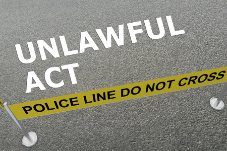 3D illustration of UNLAWFUL ACT title on the ground in a police arena Stock Photo