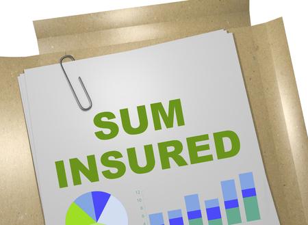"""비즈니스 문서에 """"SUM INSURED""""제목의 3D 일러스트"""