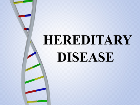 3D illustration of HEREDITARY DISEASE script with DNA double helix , isolated on colored pattern.