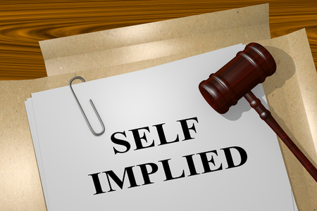3D illustration of SELF IMPLIED title on legal document