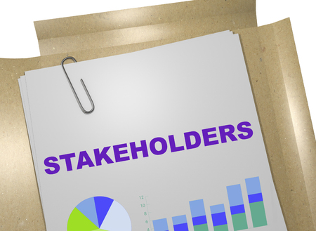 3D illustration of STAKEHOLDERS title on business document