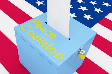 3D illustration of Peace Coalition script on a ballot box, with US flag as a background. Banco de Imagens