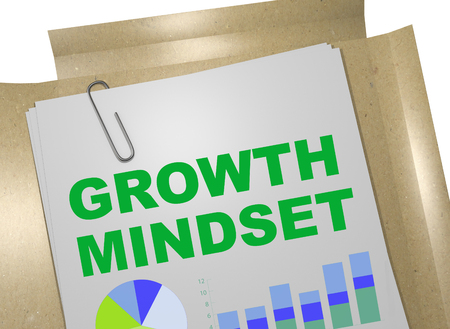 3D illustration of GROWTH MINDSET title on business document