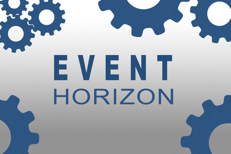 EVENT HORIZON sign concept illustration with dark blue gear wheel figures on gray background