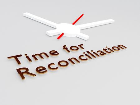 """Ilustración 3D del título de """"Time for Reconciliation"""" con un reloj como fondo"""