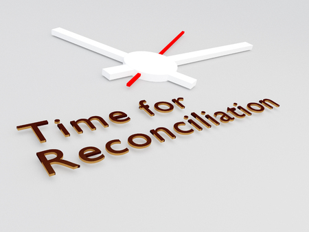 3D illustration of Time for Reconciliation title with a clock as a background Stock Photo
