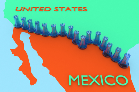 3D illustration of a chain of transparent blue chess rooks, placed on a the border between USA and Mexico in a regional map.