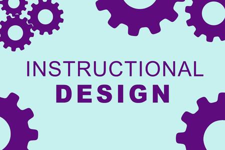 淡い青の背景に紫歯車とインストラクショナル デザイン記号概念図図します。