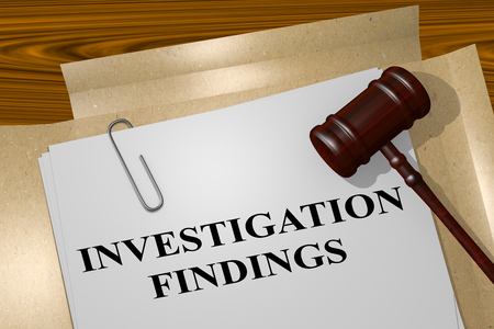 3D illustration of INVESTIGATION FINDINGS title on legal document