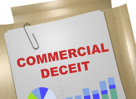 3D illustration of COMMERCIAL DECEIT title on business document