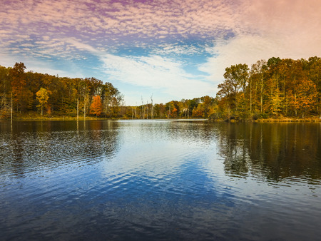 Low angle view of Little Seneca Lake at Black Hill Reginal Park Part of Clarksburg - Maryland, USA
