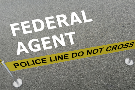 3D illustration of FEDERAL AGENT title on the ground in a police arena Stock Photo