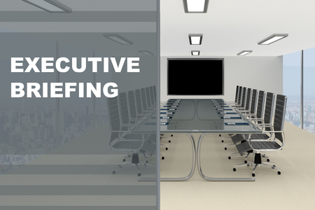 3D illustration of EXECUTIVE BRIEFING title on a glass compartment