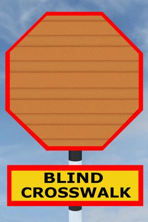 3D illustration of BLIND CROSSWALK title on road STOP sign. Warning concept. Stock Photo