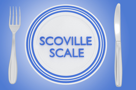 3D illustration of SCOVILLE SCALE title on a white plate, along with silver knif and fork, on a pale blue background.