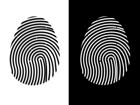 Illustration of fingerprint not based on real human reference. Isolated on white and on black. Standard-Bild - 90503276