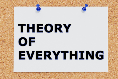 3D illustration of THEORY OF EVERYTHING on cork board