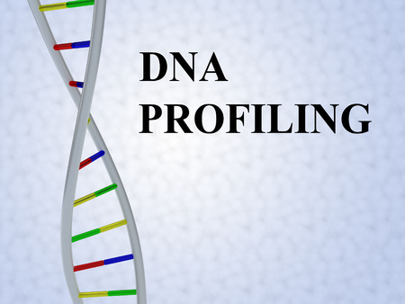 3D illustration of DNA PROFILING script with DNA double helix , isolated on colored pattern. Stock Photo