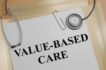 """3D-afbeelding van de titel """"WAARDEBASIS"""" op een medisch document"""