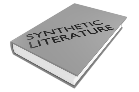 3D illustration of SYNTHETIC LITERATURE script on a book, isolated on white.
