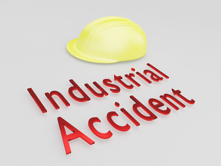 3D illustration of Industrial Accident title under a safety helmet Stock Photo