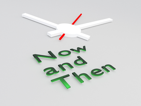 3D illustration of Now and Then title with a clock as a background Stock Photo