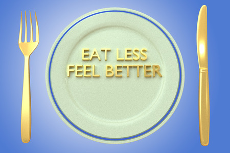 3D illustration of EAT LESS FEEL BETTER title on a pale green plate, along with golden knif and fork, on a blue background. Stock Photo