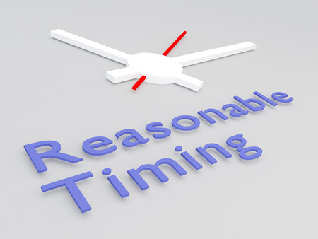 3D illustration of Reasonable Timing title with a clock as a background