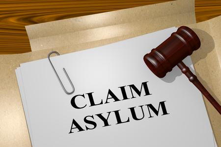 3D illustration of CLAIM ASYLUM title on legal document Stok Fotoğraf