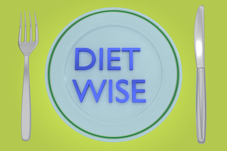 3D illustration of DIET WISE title on a pale green plate, along with silver knif and fork, on a blue background. Stock Photo