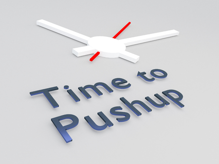 3D illustration of Time to Pushup title with a clock as a background