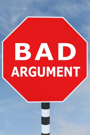 3D illustration of BAD ARGUMENT title on road sign