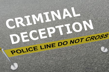 3D illustration of CRIMINAL DECEPTION title on the ground in a police arena Stock Photo