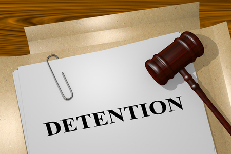 3D illustration of DETENTION title on legal document Stock Photo