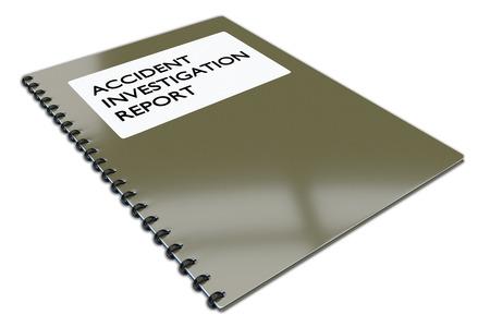 """흰색에 고립 된 책에 """"사고 조사 보고서""""스크립트의 3D 일러스트 레이 션. 스톡 콘텐츠"""