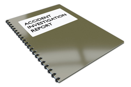 3D illustration of ACCIDENT INVESTIGATION REPORT script on a book, isolated on white.