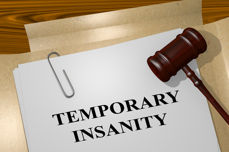 3D illustration of TEMPORARY INSANITY title on legal document