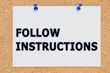 """코르크 보드에 """"따라야 할 지침""""의 3D 일러스트"""