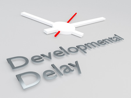 3D illustration of Developmental Delay title with a clock as a background