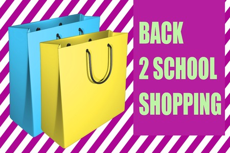 3D illustration of with two shpping bags, along with the script BACK 2 SCHOOL SHOPPING  Stock Photo
